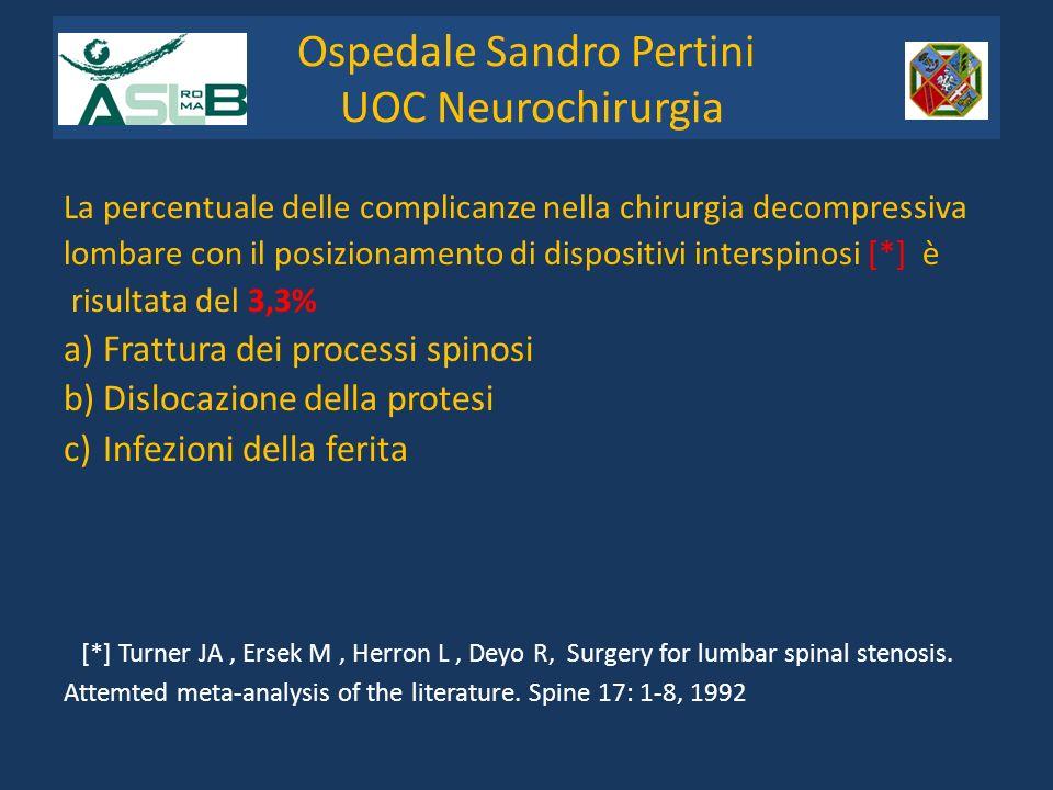 La percentuale delle complicanze nella chirurgia decompressiva lombare con il posizionamento di dispositivi interspinosi [*] è risultata del 3,3% a)Fr
