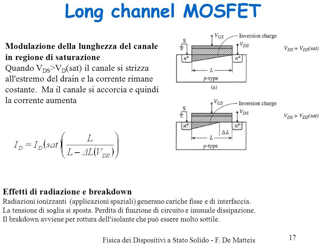 Fisica dei Dispositivi a Stato Solido - F. De Matteis 17 Long channel MOSFET Modulazione della lunghezza del canale in regione di saturazione Quando V