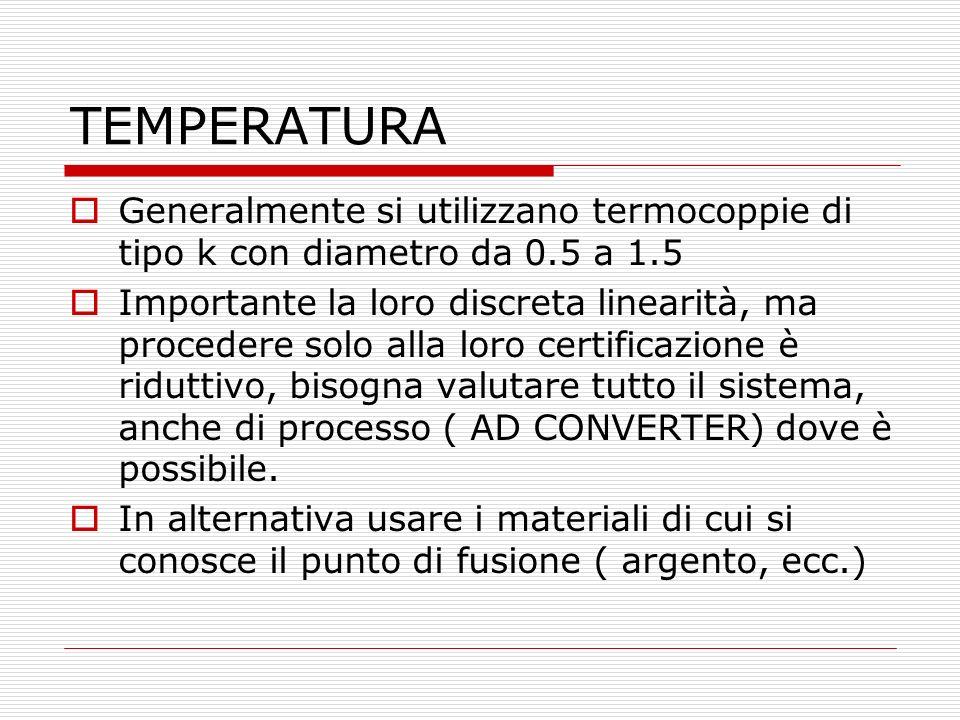 TEMPERATURA Generalmente si utilizzano termocoppie di tipo k con diametro da 0.5 a 1.5 Importante la loro discreta linearità, ma procedere solo alla l
