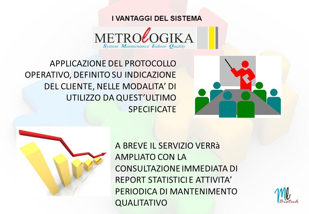 I VANTAGGI DEL SISTEMA APPLICAZIONE DEL PROTOCOLLO OPERATIVO, DEFINITO SU INDICAZIONE DEL CLIENTE, NELLE MODALITA DI UTILIZZO DA QUESTULTIMO SPECIFICATE A BREVE IL SERVIZIO VERRà AMPLIATO CON LA CONSULTAZIONE IMMEDIATA DI REPORT STATISTICI E ATTIVITA PERIODICA DI MANTENIMENTO QUALITATIVO
