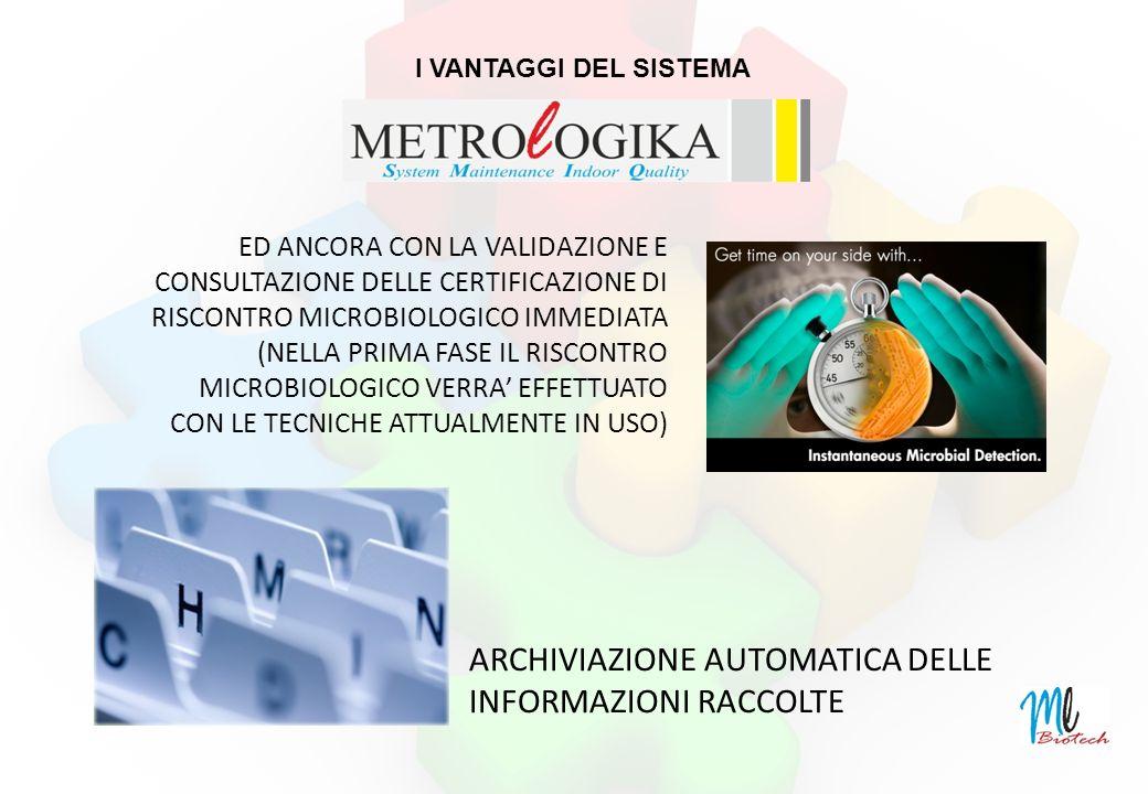 ED ANCORA CON LA VALIDAZIONE E CONSULTAZIONE DELLE CERTIFICAZIONE DI RISCONTRO MICROBIOLOGICO IMMEDIATA (NELLA PRIMA FASE IL RISCONTRO MICROBIOLOGICO VERRA EFFETTUATO CON LE TECNICHE ATTUALMENTE IN USO) ARCHIVIAZIONE AUTOMATICA DELLE INFORMAZIONI RACCOLTE I VANTAGGI DEL SISTEMA