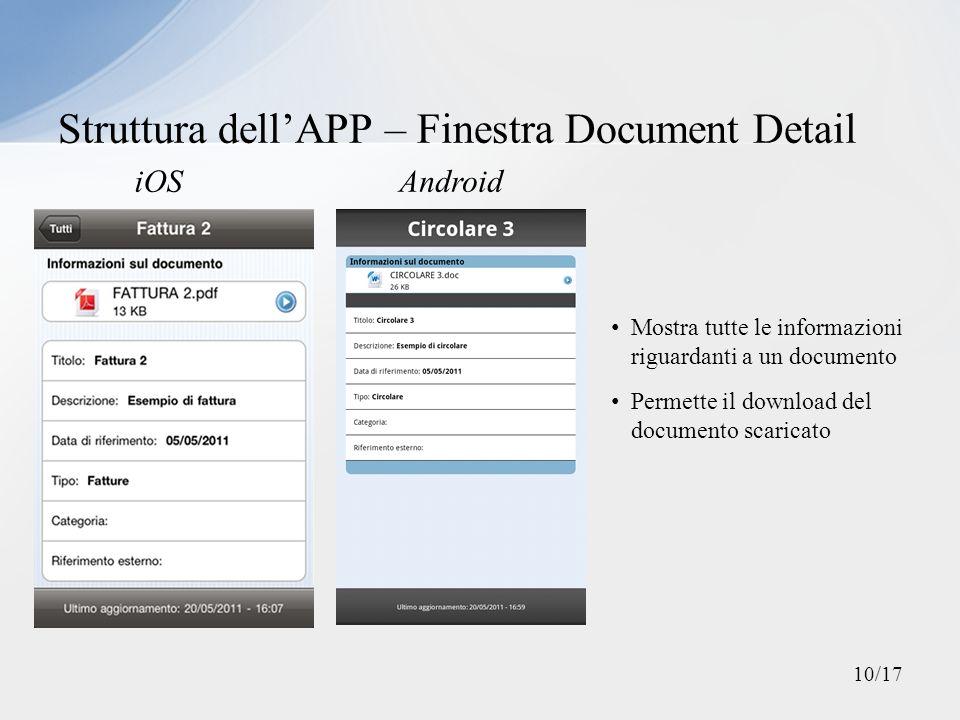 Struttura dellAPP – Finestra Document Detail iOSAndroid Mostra tutte le informazioni riguardanti a un documento Permette il download del documento sca
