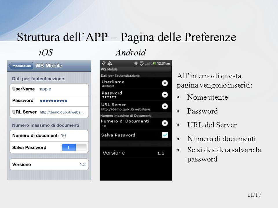 Allinterno di questa pagina vengono inseriti: Nome utente Password URL del Server Numero di documenti Se si desidera salvare la password Struttura del