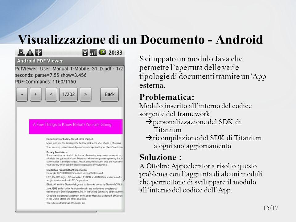 Sviluppato un modulo Java che permette lapertura delle varie tipologie di documenti tramite unApp esterna. Problematica: Modulo inserito allinterno de