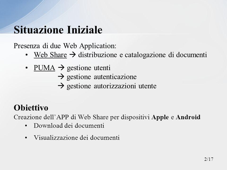 Presenza di due Web Application: Web Share distribuzione e catalogazione di documenti PUMA gestione utenti gestione autenticazione gestione autorizzaz