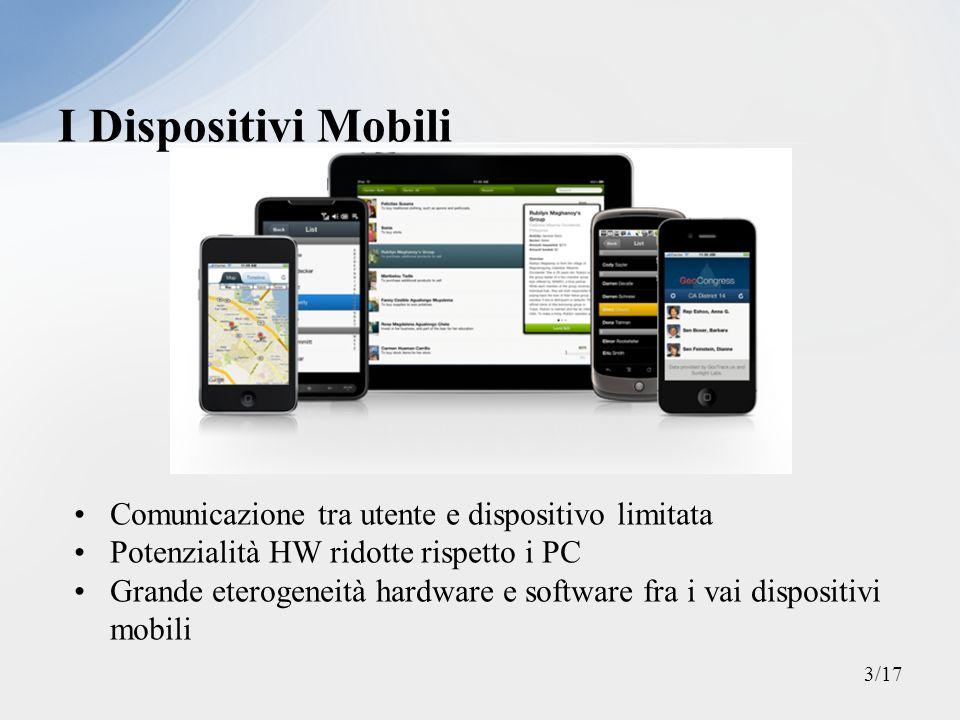 Comunicazione tra utente e dispositivo limitata Potenzialità HW ridotte rispetto i PC Grande eterogeneità hardware e software fra i vai dispositivi mo