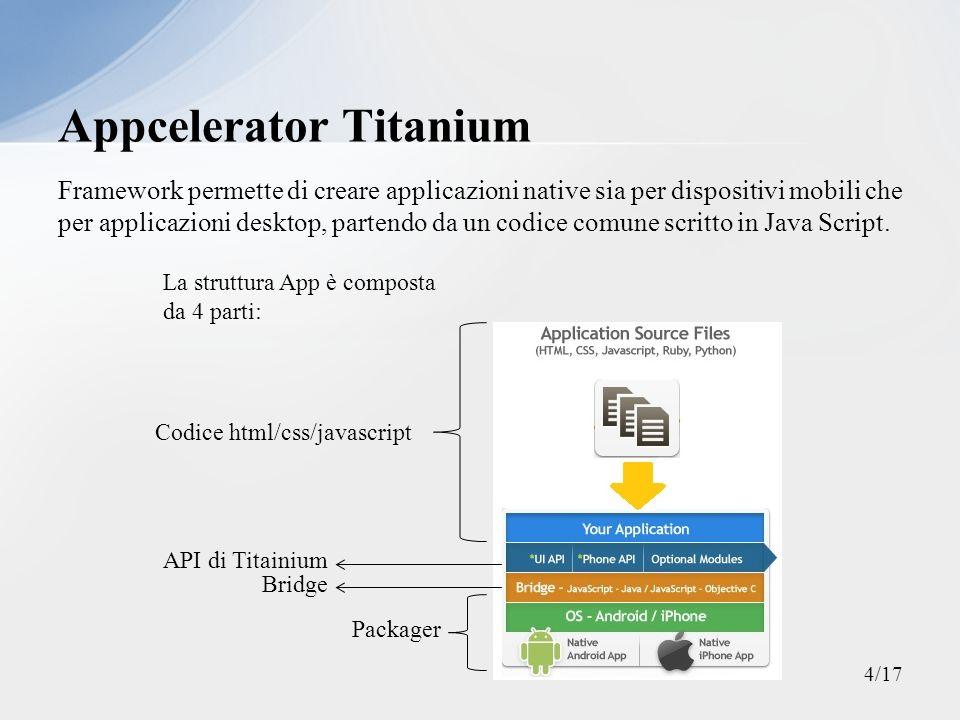Framework permette di creare applicazioni native sia per dispositivi mobili che per applicazioni desktop, partendo da un codice comune scritto in Java