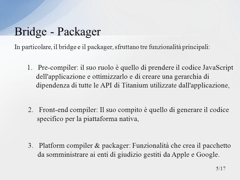 In particolare, il bridge e il packager, sfruttano tre funzionalità principali: Bridge - Packager 1. Pre-compiler: il suo ruolo è quello di prendere i