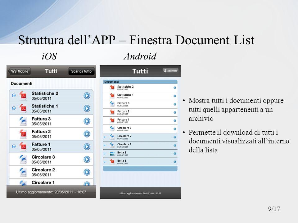 Struttura dellAPP – Finestra Document Detail iOSAndroid Mostra tutte le informazioni riguardanti a un documento Permette il download del documento scaricato 10/17