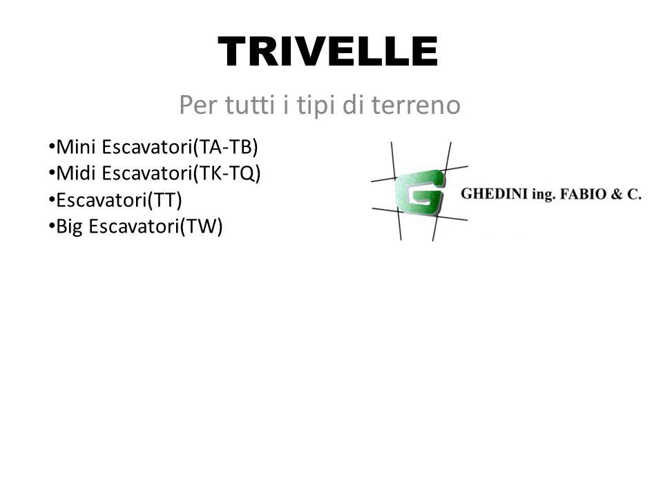 TRIVELLE Per tutti i tipi di terreno Mini Escavatori(TA-TB) Midi Escavatori(TK-TQ) Escavatori(TT) Big Escavatori(TW)