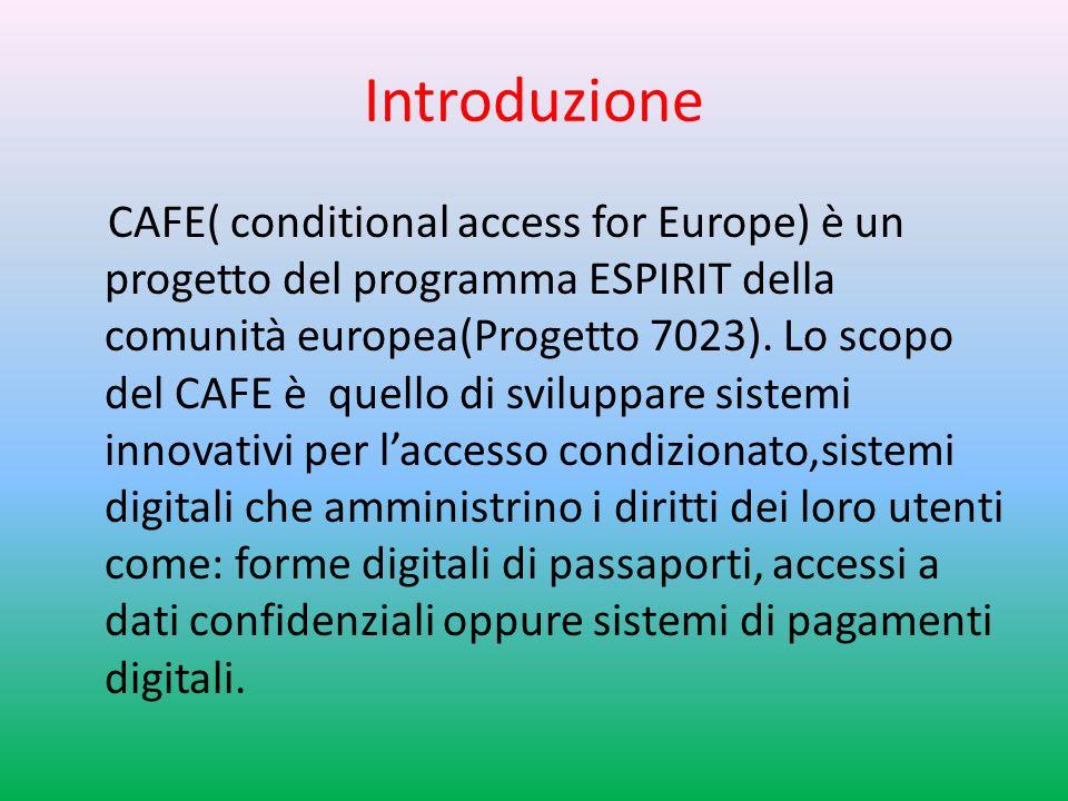 Introduzione CAFE( conditional access for Europe) è un progetto del programma ESPIRIT della comunità europea(Progetto 7023).