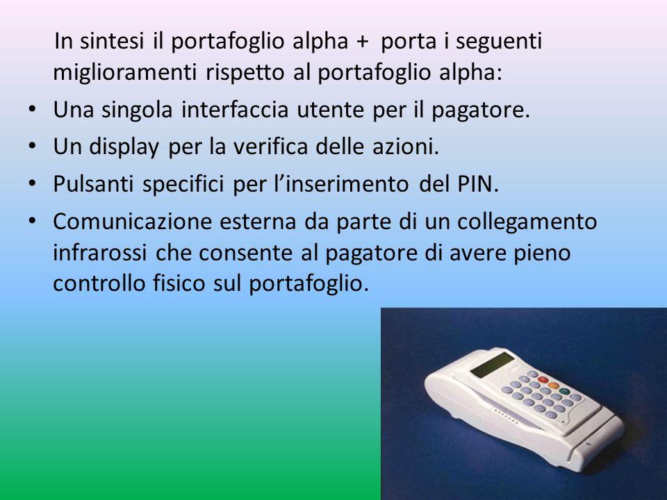 In sintesi il portafoglio alpha + porta i seguenti miglioramenti rispetto al portafoglio alpha: Una singola interfaccia utente per il pagatore.