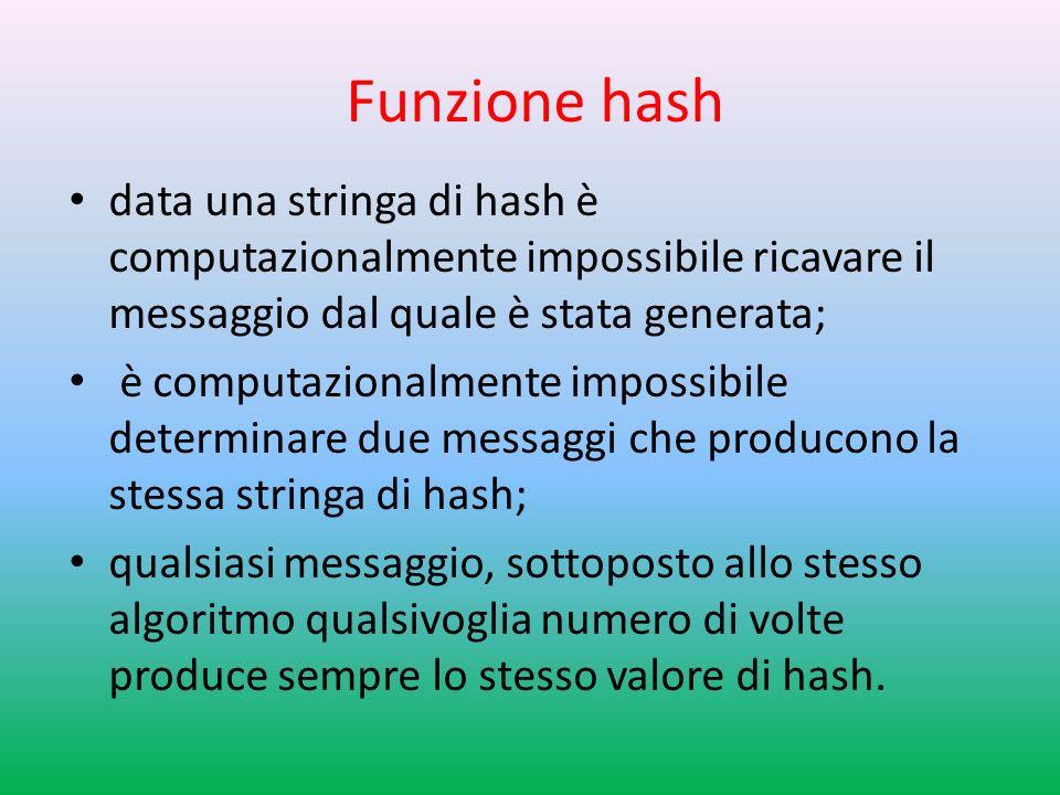 Funzione hash data una stringa di hash è computazionalmente impossibile ricavare il messaggio dal quale è stata generata; è computazionalmente impossibile determinare due messaggi che producono la stessa stringa di hash; qualsiasi messaggio, sottoposto allo stesso algoritmo qualsivoglia numero di volte produce sempre lo stesso valore di hash.