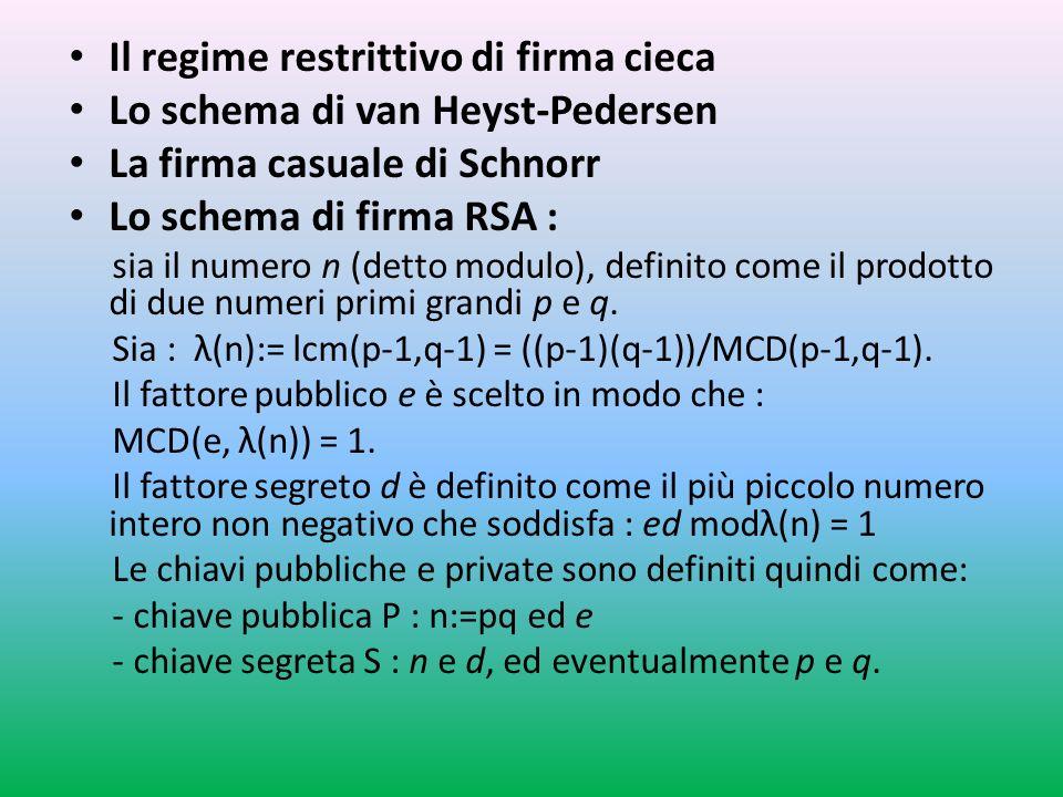 Il regime restrittivo di firma cieca Lo schema di van Heyst-Pedersen La firma casuale di Schnorr Lo schema di firma RSA : sia il numero n (detto modulo), definito come il prodotto di due numeri primi grandi p e q.