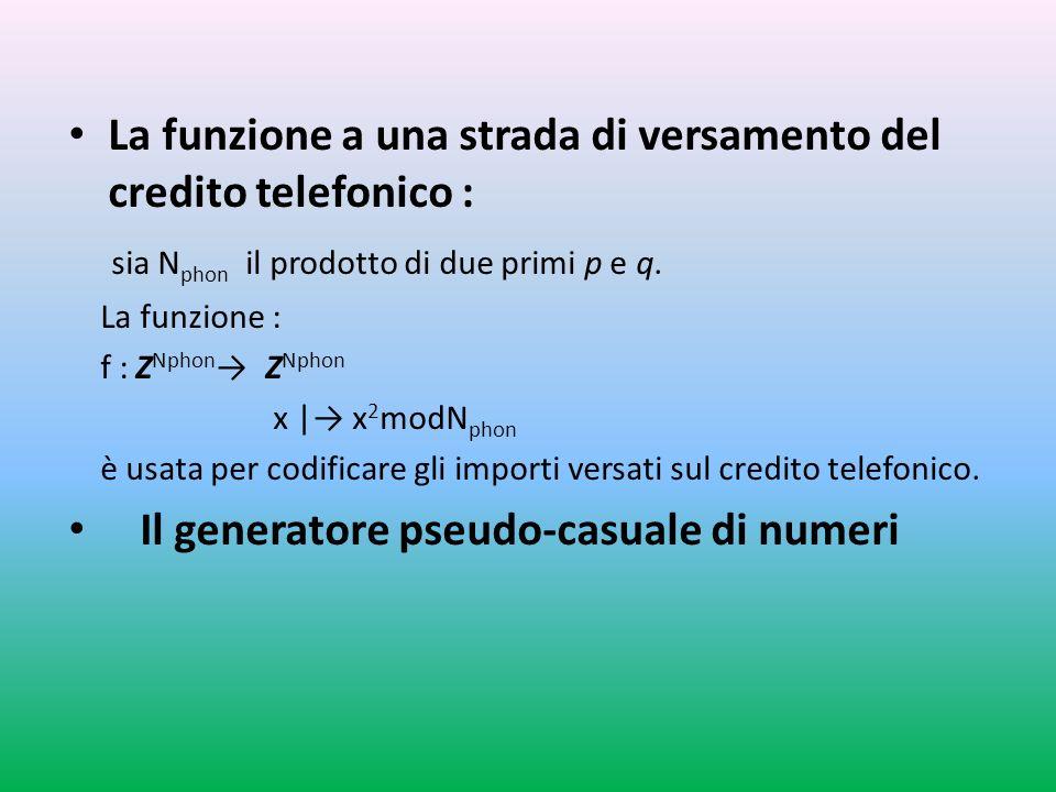 La funzione a una strada di versamento del credito telefonico : sia N phon il prodotto di due primi p e q.