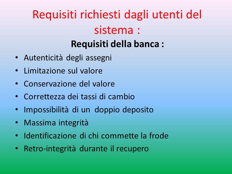 Requisiti richiesti dagli utenti del sistema : Requisiti della banca : Autenticità degli assegni Limitazione sul valore Conservazione del valore Correttezza dei tassi di cambio Impossibilità di un doppio deposito Massima integrità Identificazione di chi commette la frode Retro-integrità durante il recupero