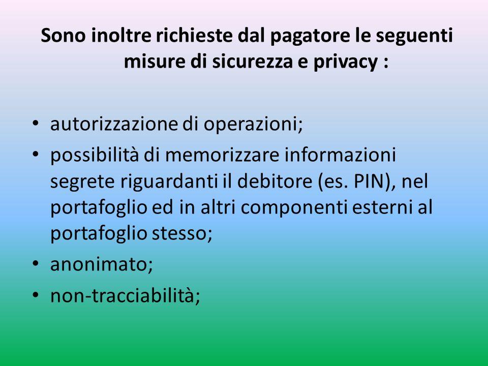 Sono inoltre richieste dal pagatore le seguenti misure di sicurezza e privacy : autorizzazione di operazioni; possibilità di memorizzare informazioni segrete riguardanti il debitore (es.