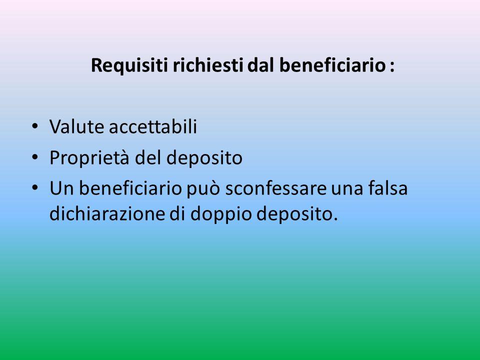 Requisiti richiesti dal beneficiario : Valute accettabili Proprietà del deposito Un beneficiario può sconfessare una falsa dichiarazione di doppio deposito.