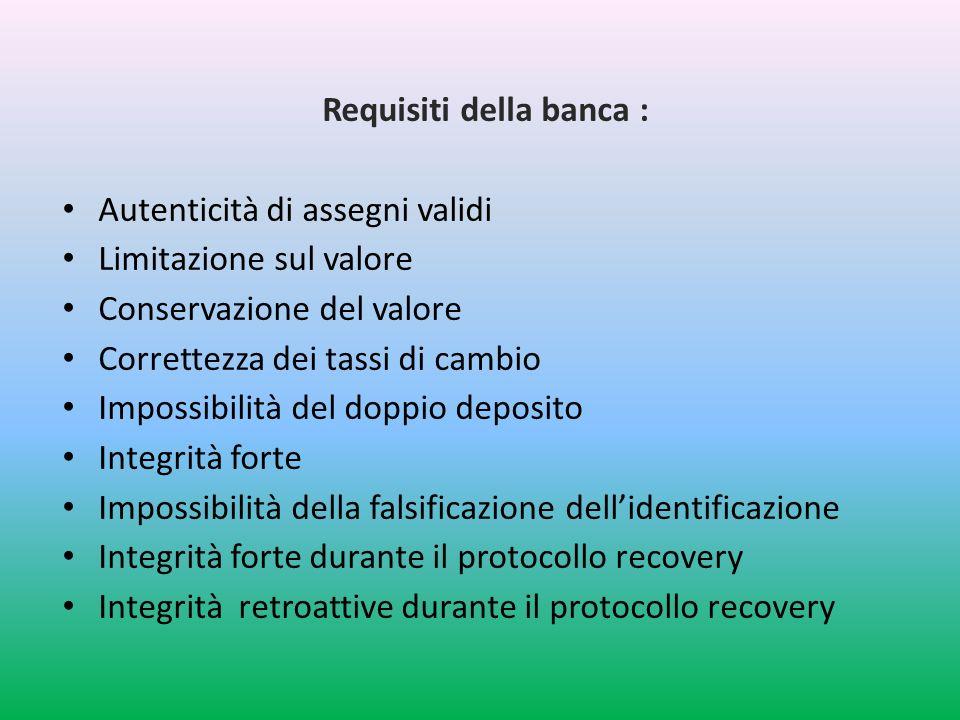 Requisiti della banca : Autenticità di assegni validi Limitazione sul valore Conservazione del valore Correttezza dei tassi di cambio Impossibilità del doppio deposito Integrità forte Impossibilità della falsificazione dellidentificazione Integrità forte durante il protocollo recovery Integrità retroattive durante il protocollo recovery