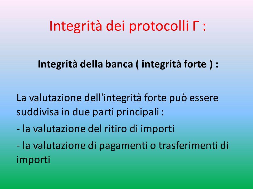 Integrità dei protocolli Г : Integrità della banca ( integrità forte ) : La valutazione dell integrità forte può essere suddivisa in due parti principali : - la valutazione del ritiro di importi - la valutazione di pagamenti o trasferimenti di importi