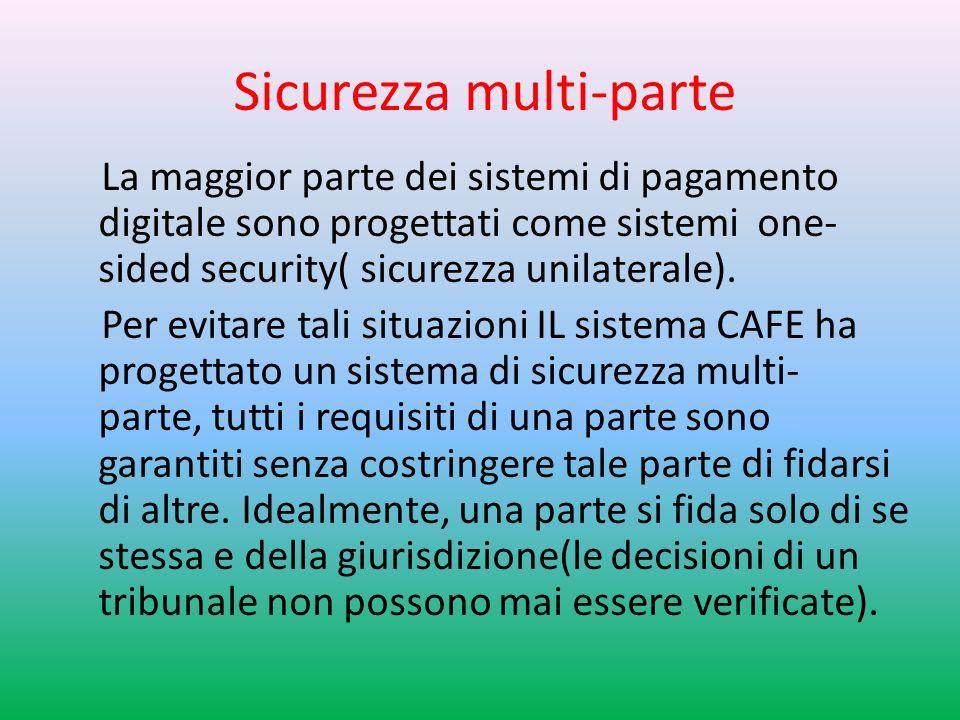 Sicurezza multi-parte La maggior parte dei sistemi di pagamento digitale sono progettati come sistemi one- sided security( sicurezza unilaterale).
