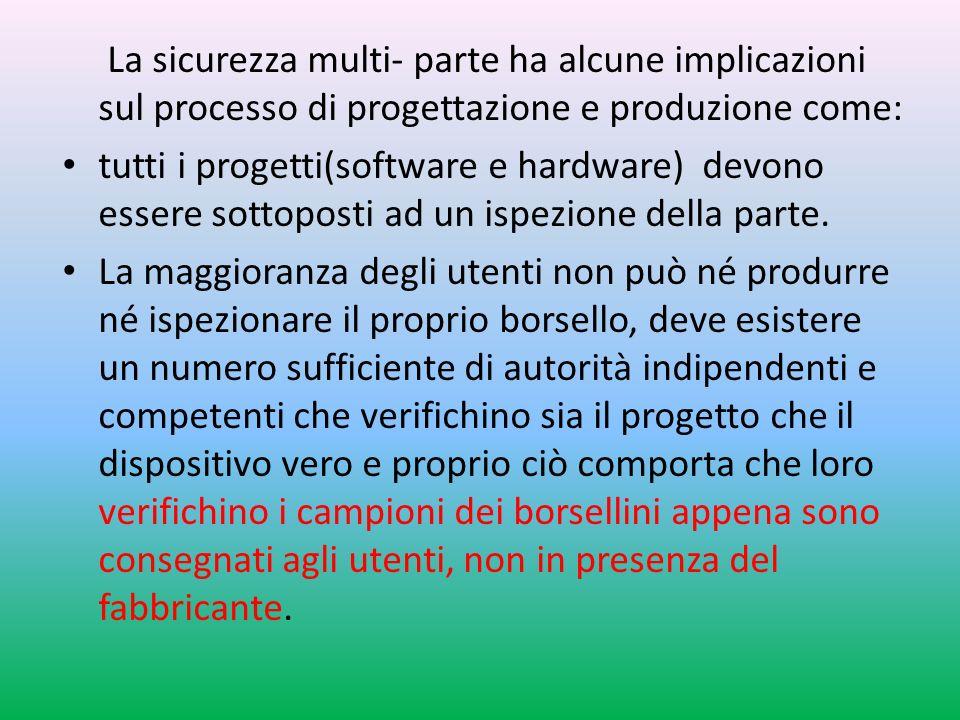 La sicurezza multi- parte ha alcune implicazioni sul processo di progettazione e produzione come: tutti i progetti(software e hardware) devono essere sottoposti ad un ispezione della parte.