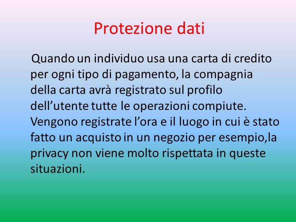 Protezione dati Quando un individuo usa una carta di credito per ogni tipo di pagamento, la compagnia della carta avrà registrato sul profilo dellutente tutte le operazioni compiute.