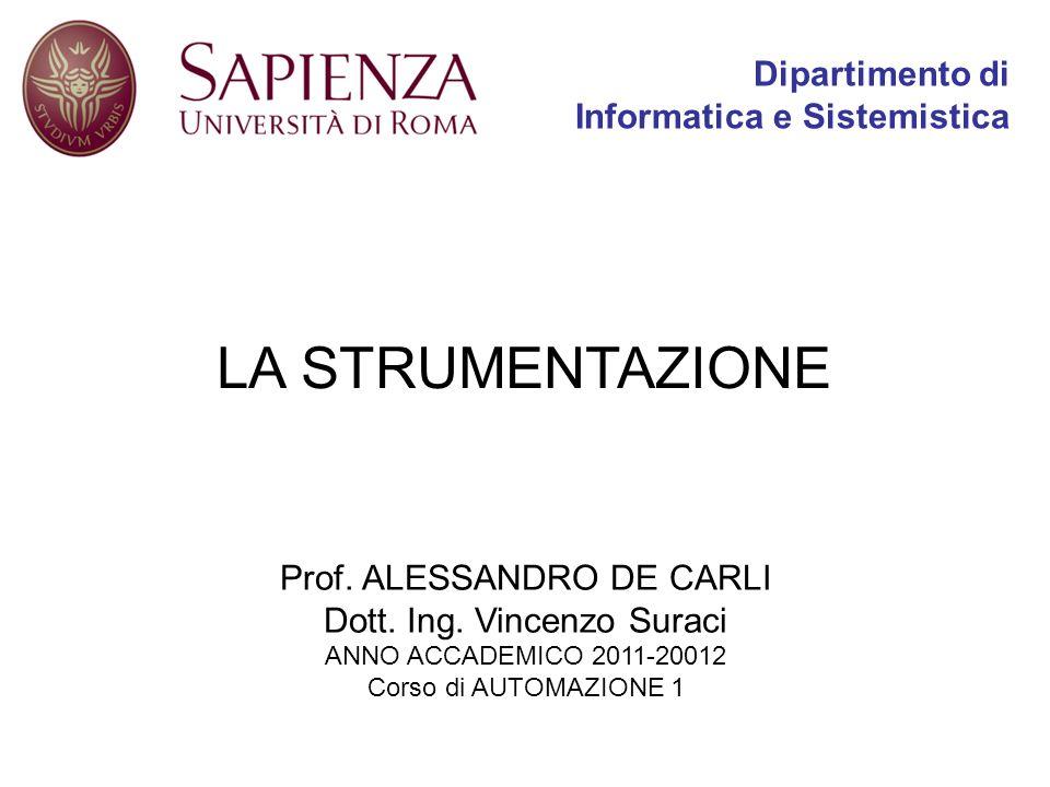 LA STRUMENTAZIONE Prof. ALESSANDRO DE CARLI Dott. Ing. Vincenzo Suraci ANNO ACCADEMICO 2011-20012 Corso di AUTOMAZIONE 1 Dipartimento di Informatica e