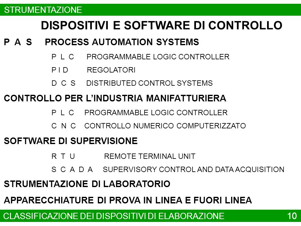 P L C PROGRAMMABLE LOGIC CONTROLLER P I D REGOLATORI SOFTWARE DI SUPERVISIONE R T U REMOTE TERMINAL UNIT DISPOSITIVI E SOFTWARE DI CONTROLLO S C A D A