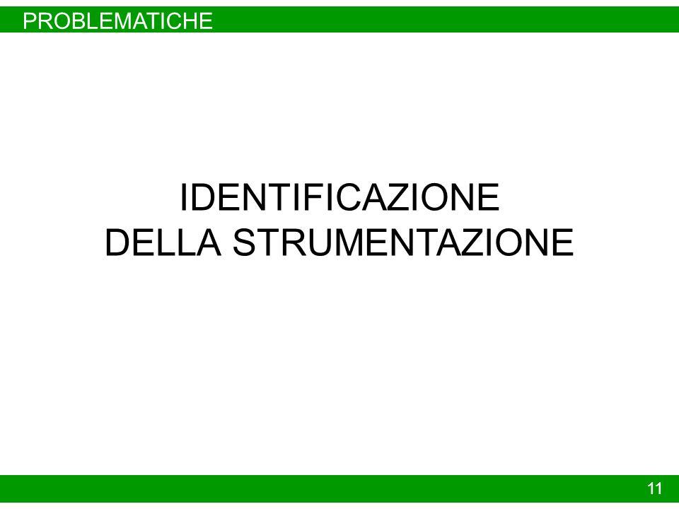 PROBLEMATICHE 11 IDENTIFICAZIONE DELLA STRUMENTAZIONE
