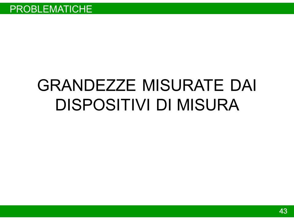 PROBLEMATICHE 43 GRANDEZZE MISURATE DAI DISPOSITIVI DI MISURA