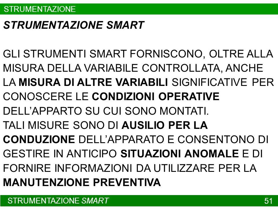 STRUMENTAZIONE SMART 51 STRUMENTAZIONE SMART GLI STRUMENTI SMART FORNISCONO, OLTRE ALLA MISURA DELLA VARIABILE CONTROLLATA, ANCHE LA MISURA DI ALTRE V