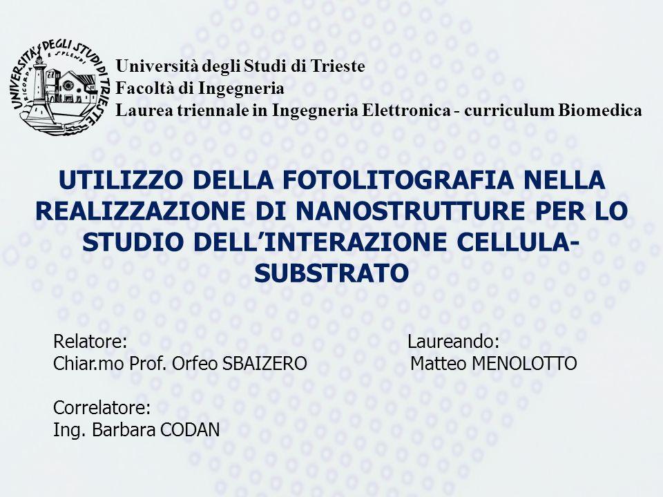 UTILIZZO DELLA FOTOLITOGRAFIA NELLA REALIZZAZIONE DI NANOSTRUTTURE PER LO STUDIO DELLINTERAZIONE CELLULA- SUBSTRATO Relatore: Laureando: Chiar.mo Prof