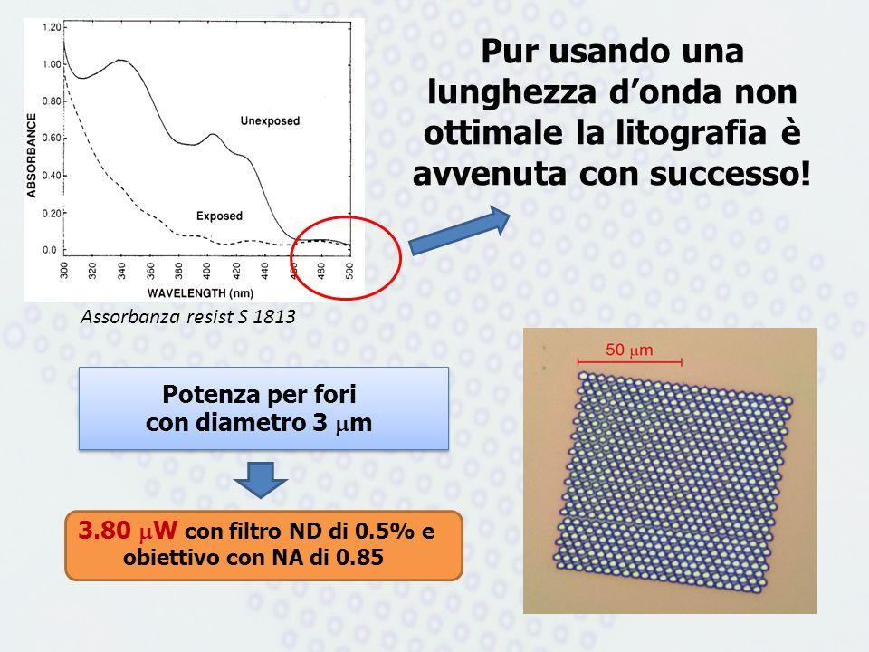 Potenza per fori con diametro 3 m Pur usando una lunghezza donda non ottimale la litografia è avvenuta con successo! 3.80 W con filtro ND di 0.5% e ob