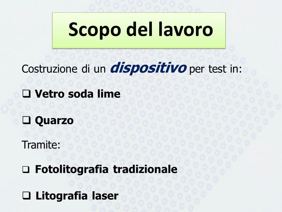 Scopo del lavoro Costruzione di un dispositivo per test in: Vetro soda lime Quarzo Tramite: Fotolitografia tradizionale Litografia laser