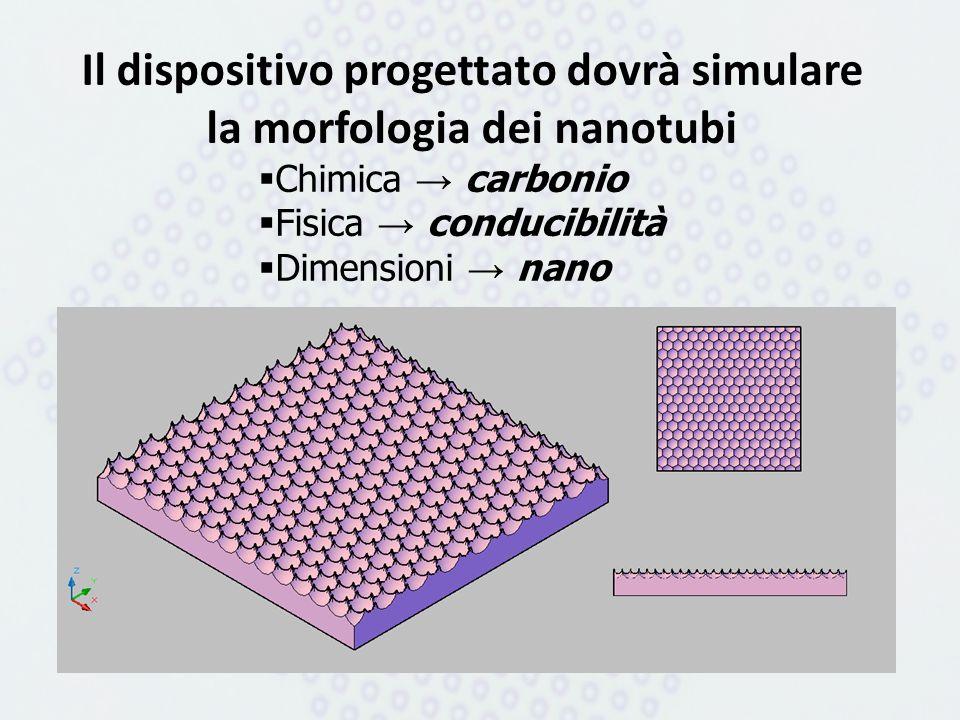 Il dispositivo progettato dovrà simulare la morfologia dei nanotubi Chimica carbonio Fisica conducibilità Dimensioni nano