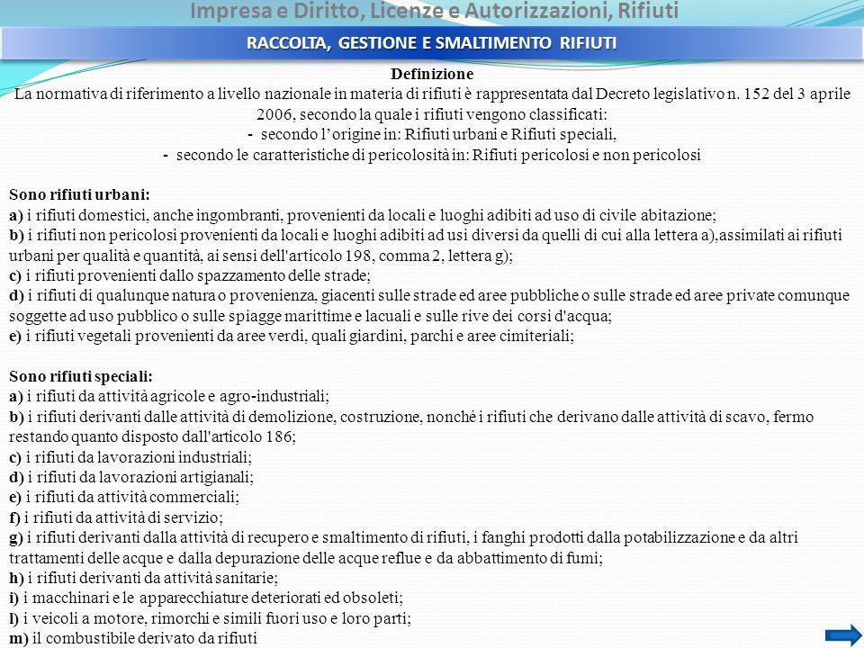 Impresa e Diritto, Licenze e Autorizzazioni, Rifiuti Definizione La normativa di riferimento a livello nazionale in materia di rifiuti è rappresentata