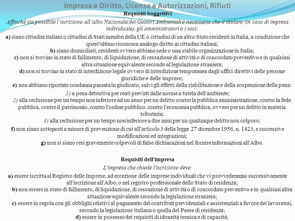 Impresa e Diritto, Licenze e Autorizzazioni, Rifiuti Requisiti Soggettivi Affinché sia possibile liscrizione allalbo Nazionale dei Gestori Ambientali