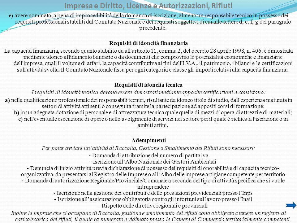 Impresa e Diritto, Licenze e Autorizzazioni, Rifiuti Riferimenti Normativi Nazionali Decreto Legislativo 3 aprile 2006, n.