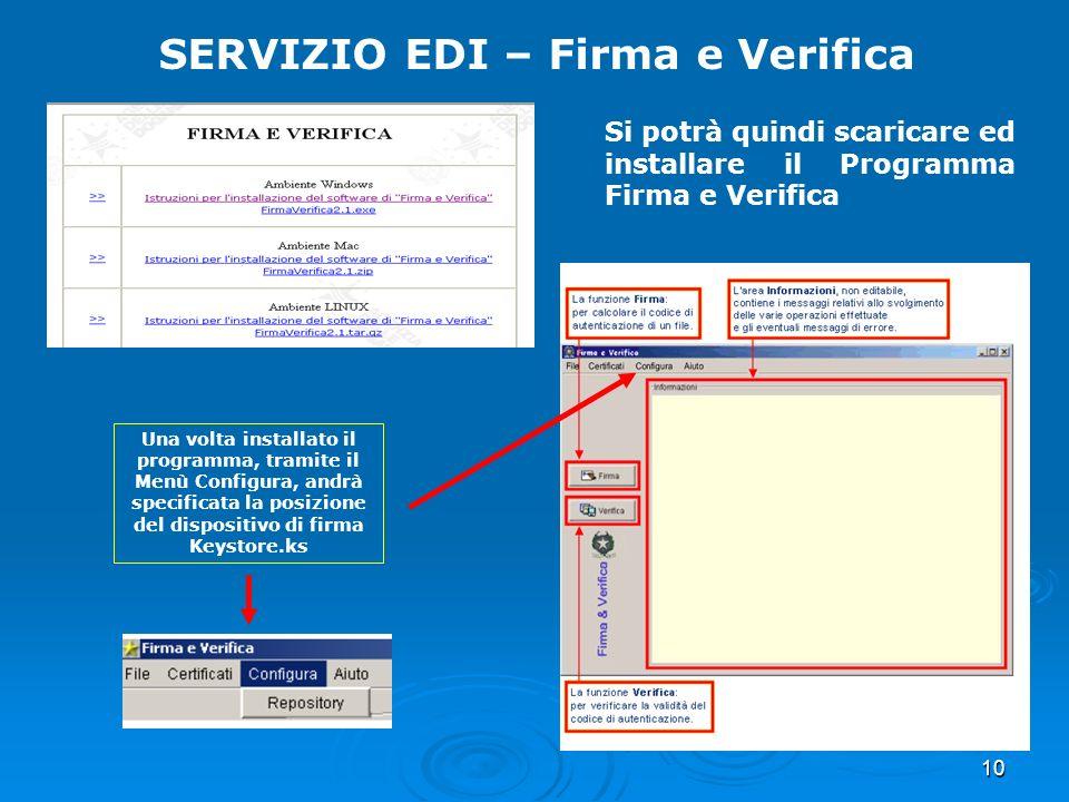 10 SERVIZIO EDI – Firma e Verifica Si potrà quindi scaricare ed installare il Programma Firma e Verifica Una volta installato il programma, tramite il