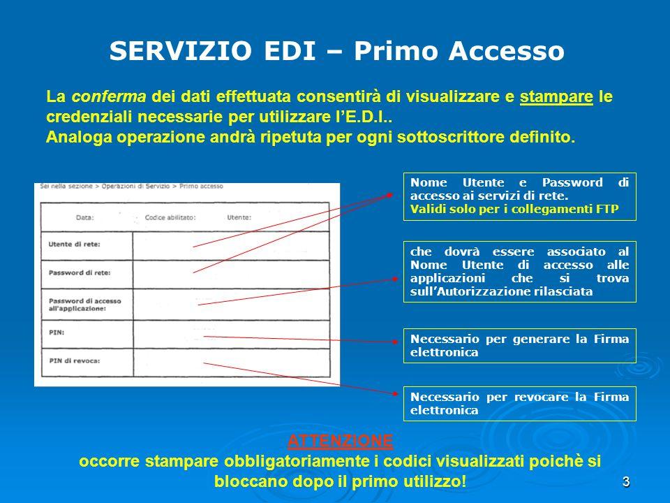 3 SERVIZIO EDI – Primo Accesso La conferma dei dati effettuata consentirà di visualizzare e stampare le credenziali necessarie per utilizzare lE.D.I..