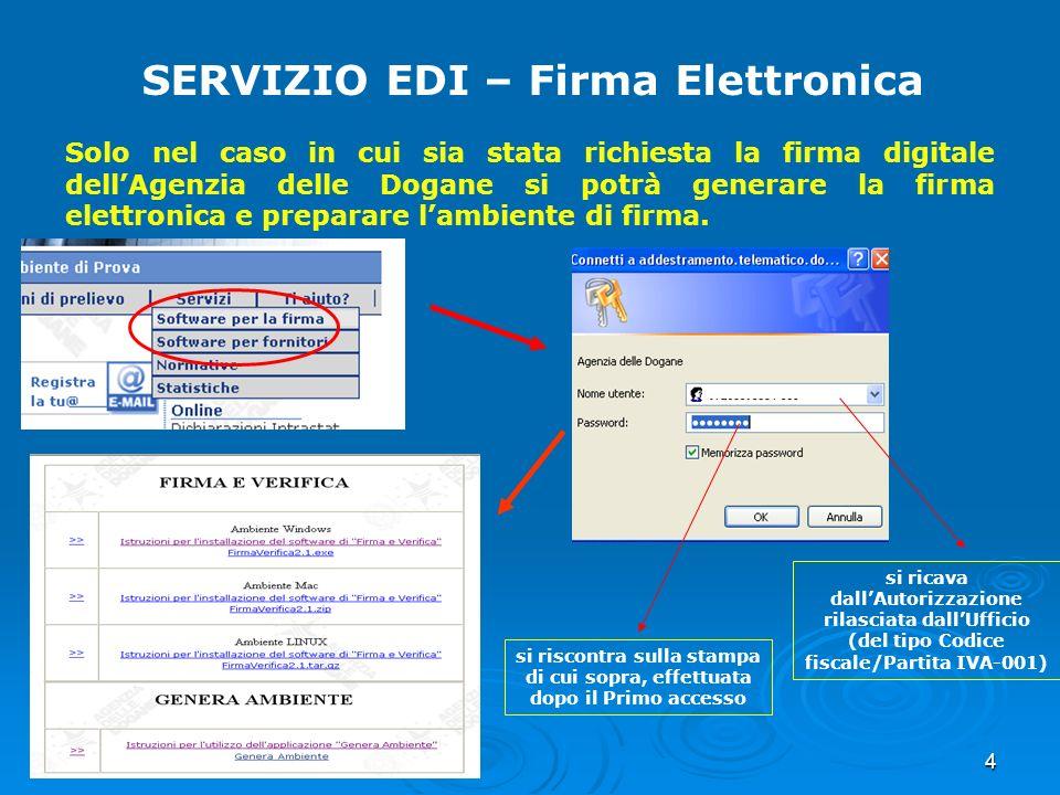4 SERVIZIO EDI – Firma Elettronica Solo nel caso in cui sia stata richiesta la firma digitale dellAgenzia delle Dogane si potrà generare la firma elet
