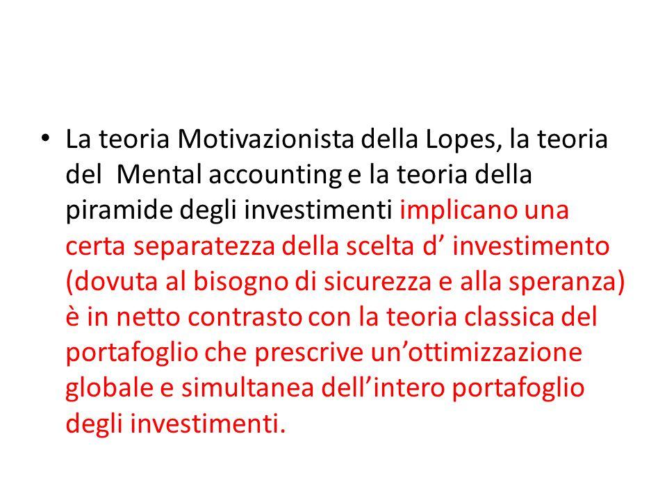 La teoria Motivazionista della Lopes, la teoria del Mental accounting e la teoria della piramide degli investimenti implicano una certa separatezza de