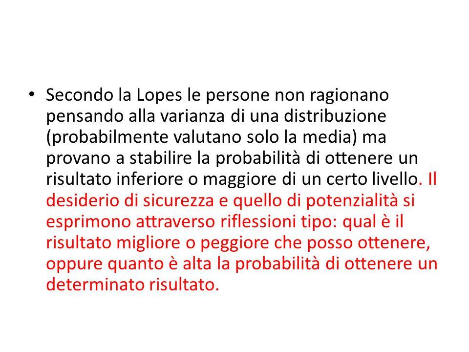 Secondo la Lopes le persone non ragionano pensando alla varianza di una distribuzione (probabilmente valutano solo la media) ma provano a stabilire la