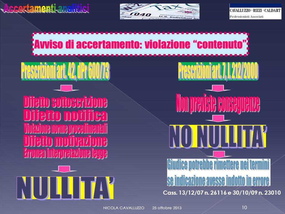 Avviso di accertamento: violazione contenuto 25 ottobre 2013 10 NICOLA CAVALLUZZO Cass.