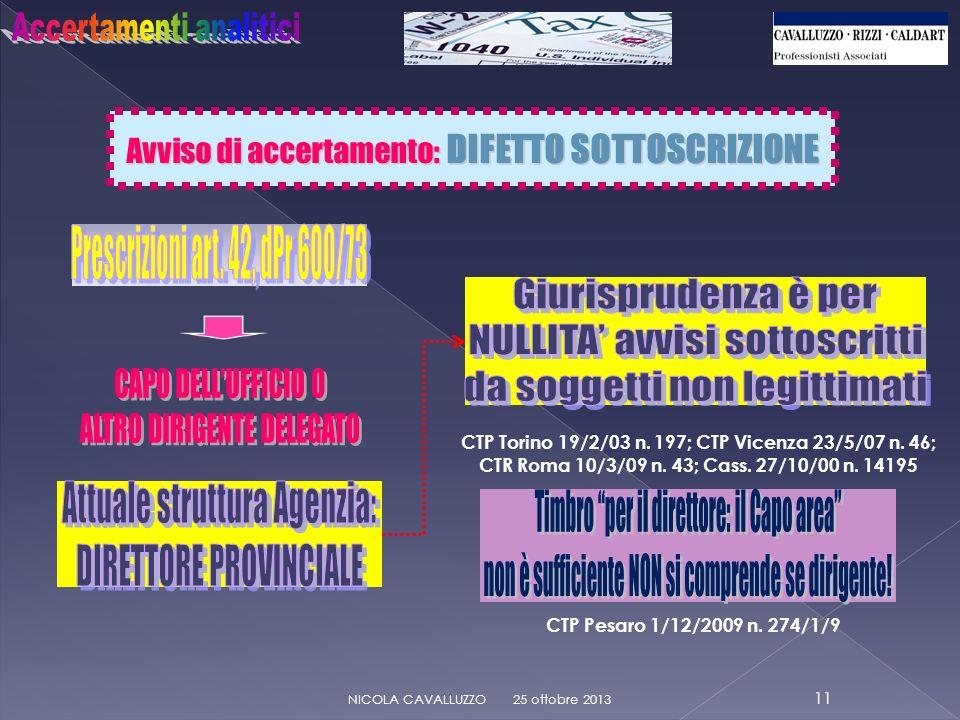 Avviso di accertamento: DIFETTO SOTTOSCRIZIONE 25 ottobre 2013 11 NICOLA CAVALLUZZO CTP Pesaro 1/12/2009 n.