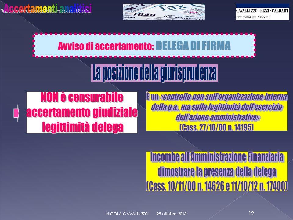 Avviso di accertamento: DELEGA DI FIRMA 25 ottobre 2013 12 NICOLA CAVALLUZZO