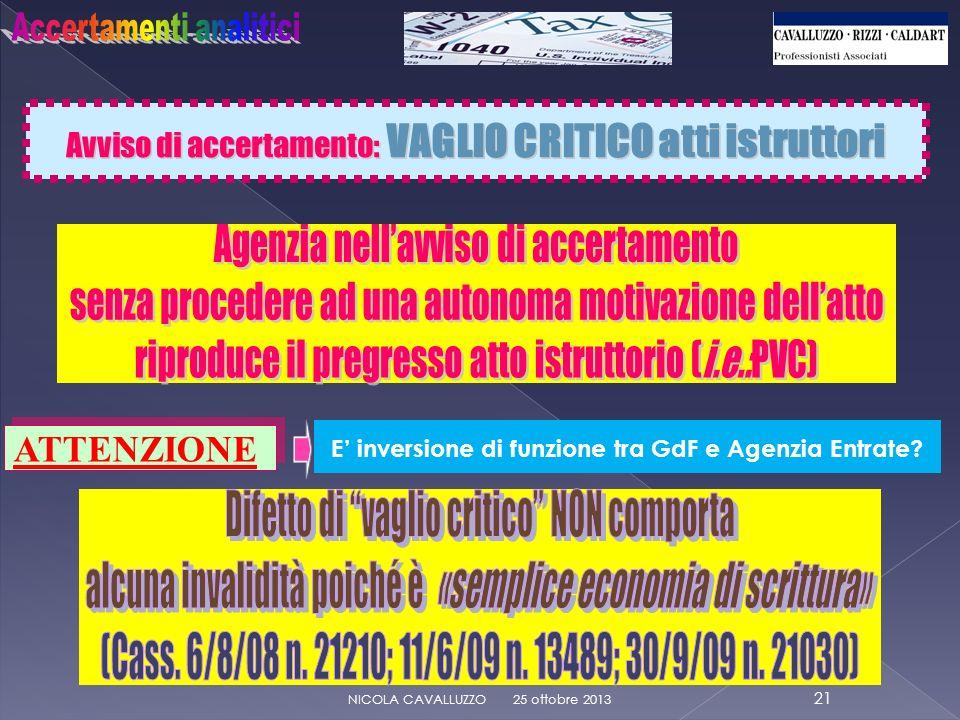 Avviso di accertamento: VAGLIO CRITICO atti istruttori 25 ottobre 2013 21 NICOLA CAVALLUZZO ATTENZIONE E inversione di funzione tra GdF e Agenzia Entrate?