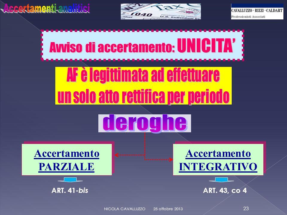 Avviso di accertamento: UNICITA 25 ottobre 2013 23 NICOLA CAVALLUZZO Accertamento PARZIALE Accertamento PARZIALE ART.