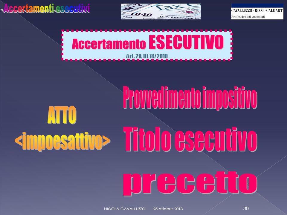 25 ottobre 2013 30 NICOLA CAVALLUZZO Accertamento ESECUTIVO Accertamento ESECUTIVO Art.